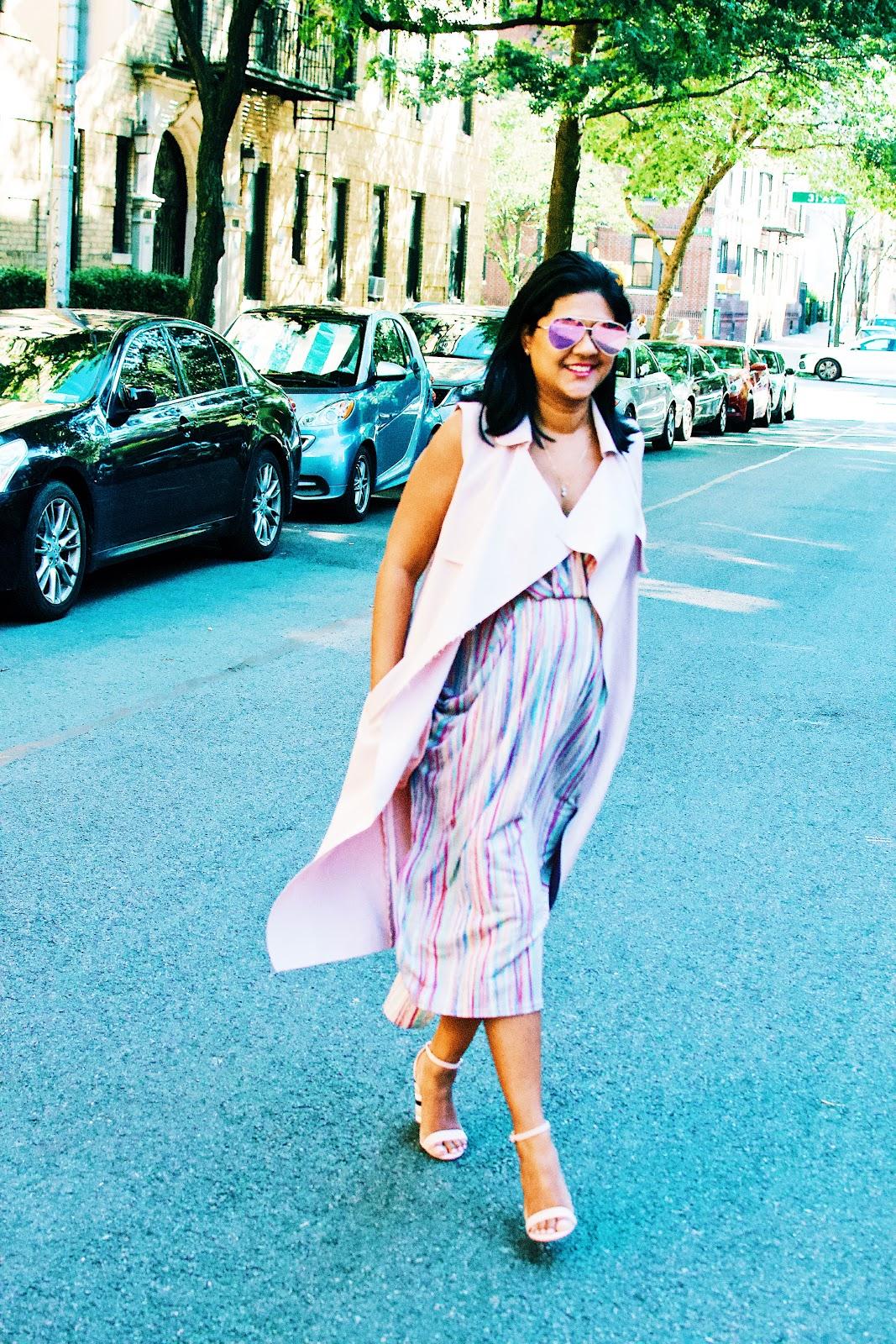 pink duster coat, bcbg dress