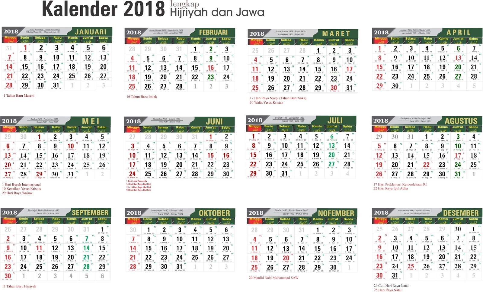 Template Kalender 2018 Lengkap Hijriyah Dan Jawa GRATIS ...