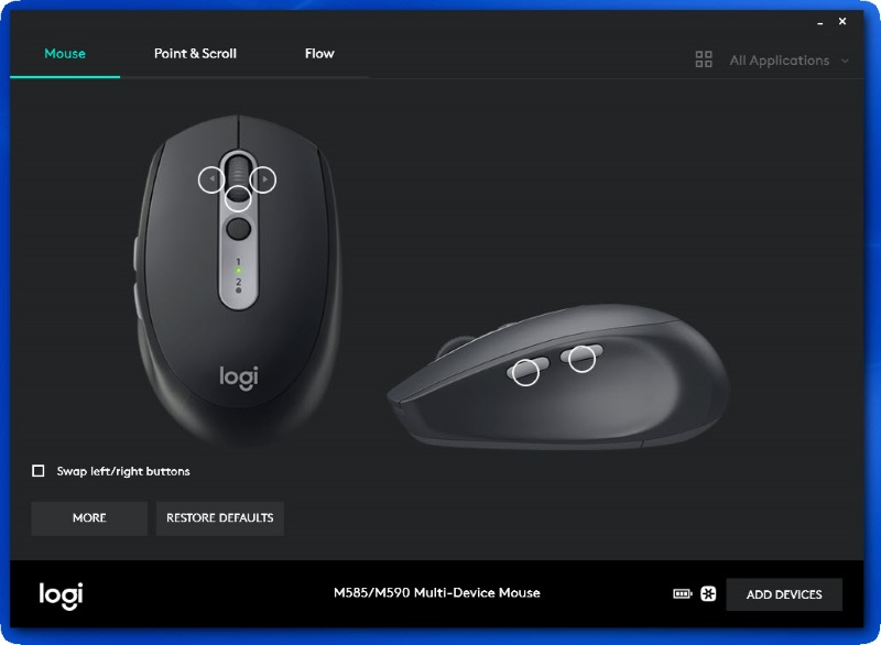 My Logitech M590 multi-device silent and flow wireless mouse