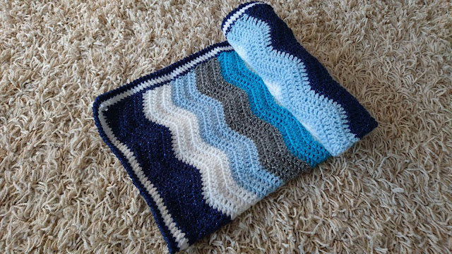 Baby Boy Crochet Blue Ripple Blanket Attic 24 Pattern