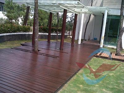 lantai kayu outdoor decking teras rumah