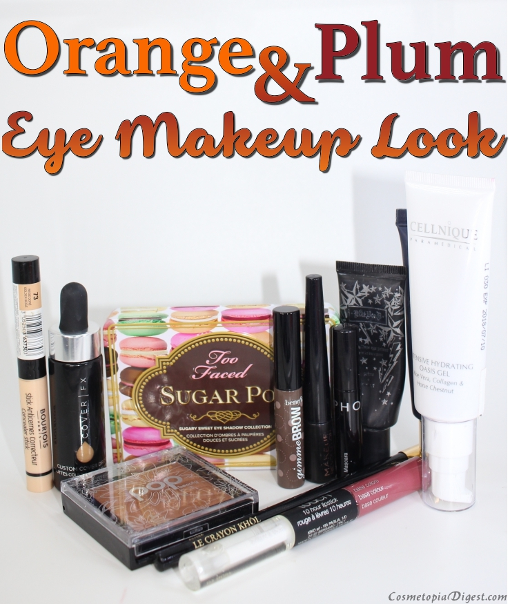 Orange and plum eye makeup look for Fall; FOTD with CoverFX Custom Cover Drops.