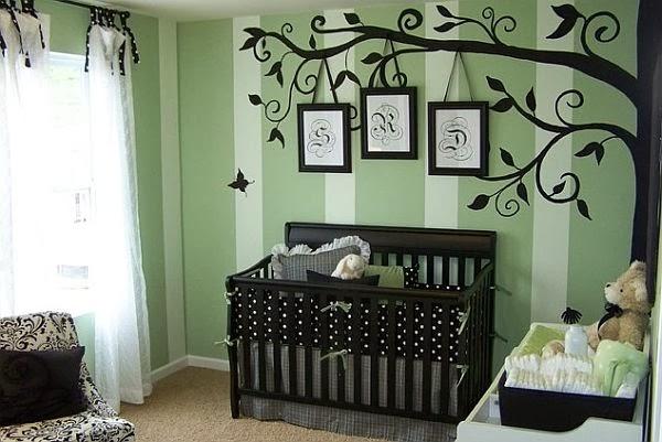 Dormitorios en verde y marr n para beb s ideas para for Dormitorios verde agua