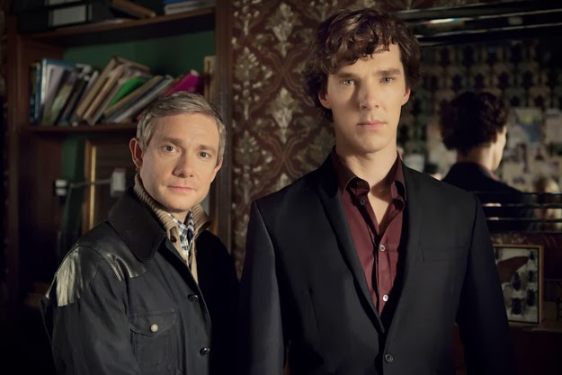 Benedict Cumberbatch and Martin Freeman as Sherlock Holmes and John Watson in BBC Sherlock Season 3 Episode 1 The Empty Hearse