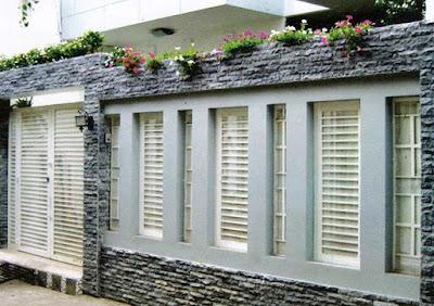 gambar pagar tembok depan rumah minimalis terbaru