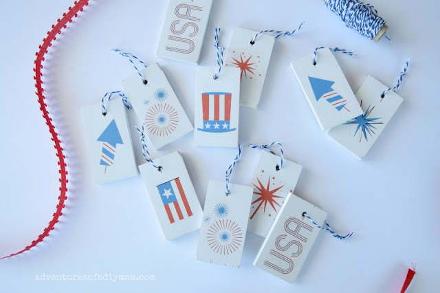 Patriotic Wooden Tags made with Temporary Tattoos