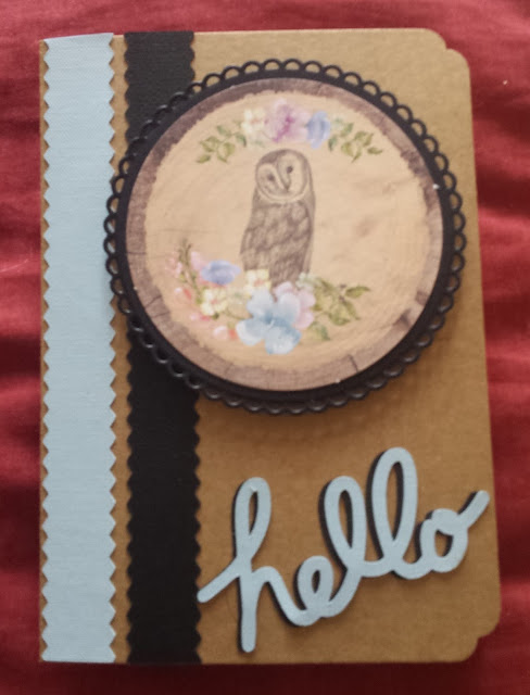 "Hello - Owls and flowers 5"" x 7"" Kraft Card"