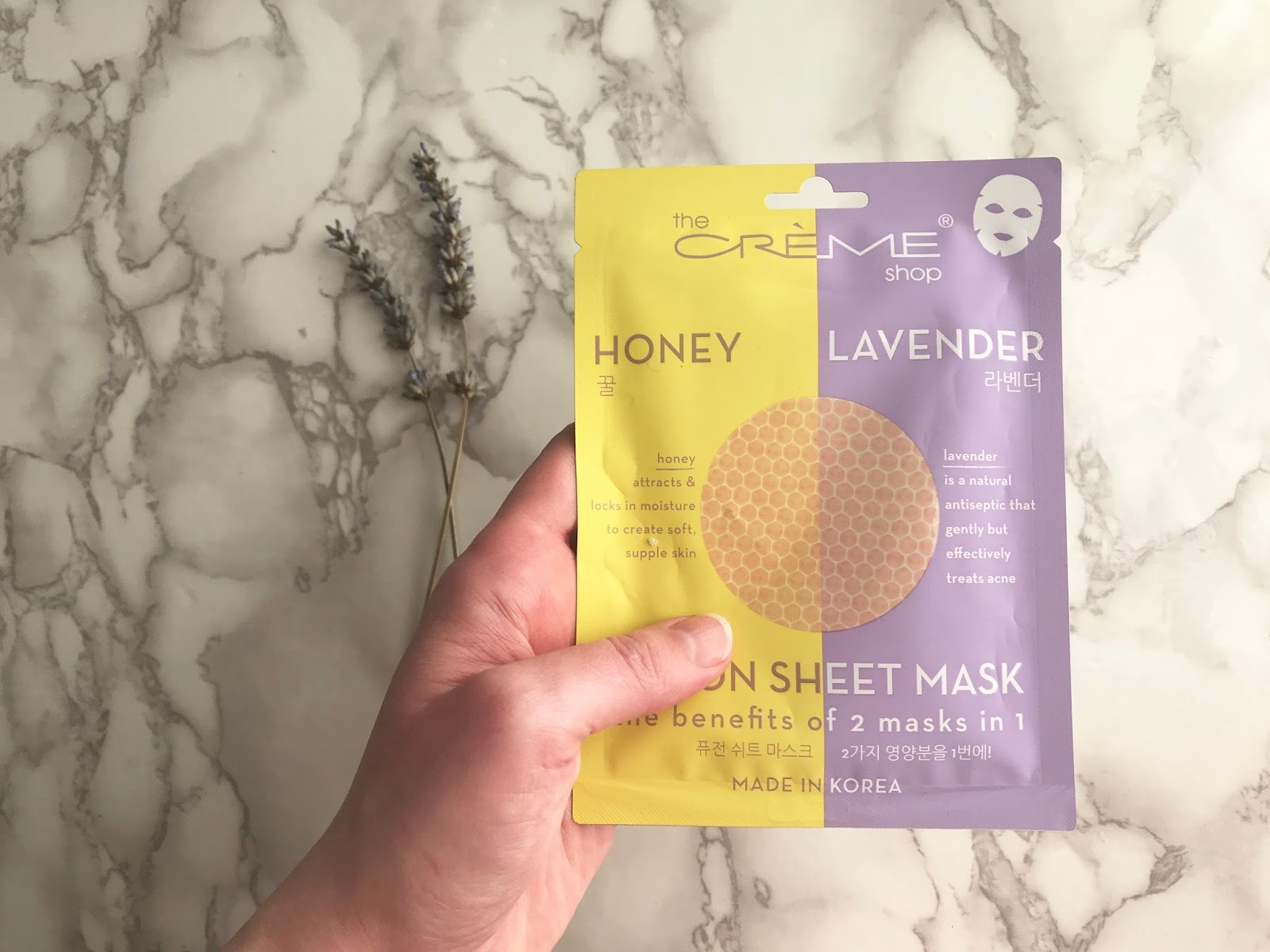 the creme shop honey & lavender fusion sheet mask review