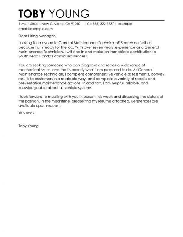 General Cover Letter For Job Fair