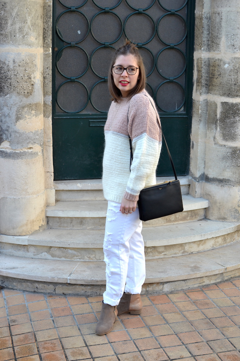 pull an'ge collection, jean boyfriend blanc Kiabi, bottines bakajoo, trio bag Céline