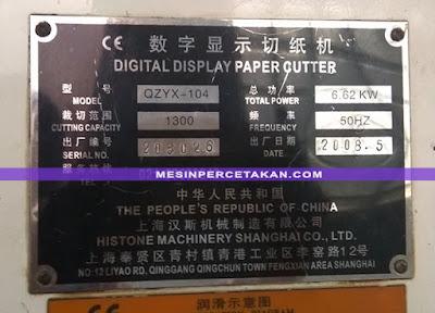 Spesifikasi Mesin potong kertas QZYX 104