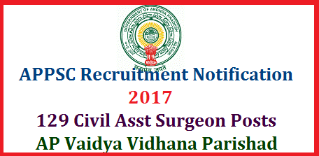 APPSC Recruitment Notification for 129 Civil Asst Surgeon in AP Vaidya Vidhana Parishad Apply Online @www.psc.ap.gov.in Andhra Pradesh Public Service Commission Hyderabad issued Recruitment Notification for Various Civil Assistant Surgeon Posts of Gynecology, Anesthesia, Pediatrics, General Medicine General Surgery, Orthopedics, ENT and Pathology in Andhra Pradesh Vidya Vidhana Parishad | Online Applications are Inviting for Various Vacancy Posts in AP Medical Department through APPSC at http://psc.ap.gov.in | Eligibility criteria  Download of Hall Tickets Date of EXAMINATION Pre Test ( Preliminary ) and Main Exam Schedule How to Apply OR Register Online appsc-recruitment-notification-for-129-civil-assistant-surgeon-posts-apply-online-psc.ap.gov.in