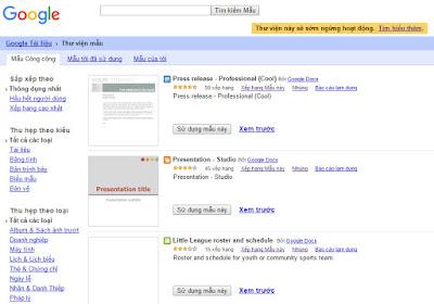 thư viện Email mẫu google doccs