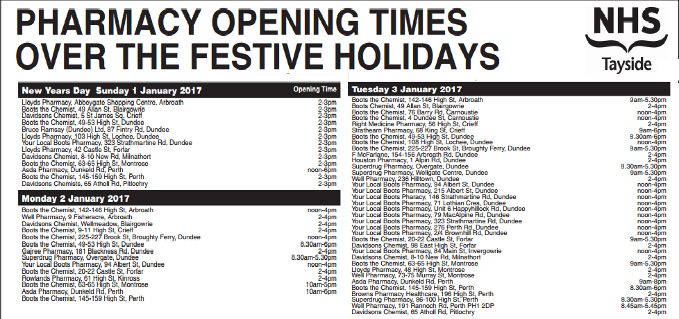 Pharmcy Opening Hours New Year 2016/17