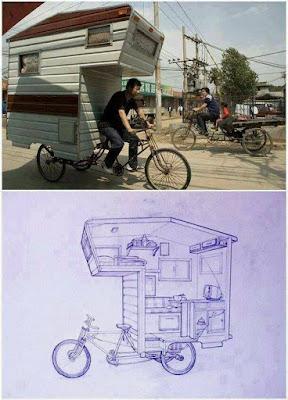 Casa rodante en bicicleta