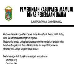 Lowongan Kerja Tenaga Kontrak Khusus Teknik Konstruksi di Dinas Pekerjaan Umum Kabupaten Mamuju