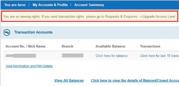 how to upgrade access level in sbi net banking