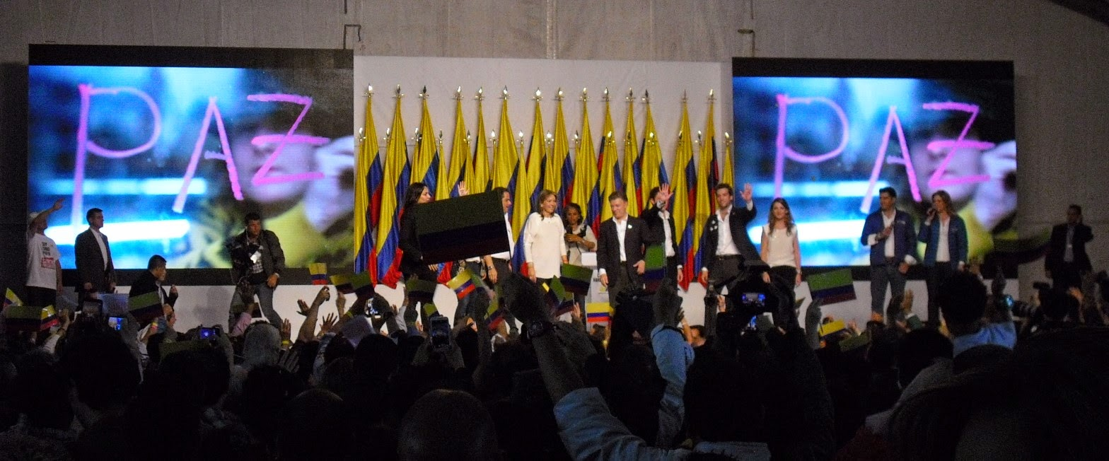 Peace is the word: Juan Manuel Santos' re-election victory speech.