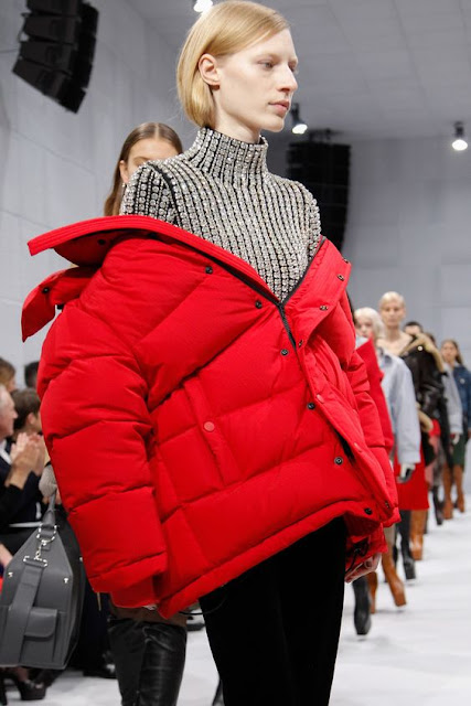 coat puffy red baleciaga fashion looks