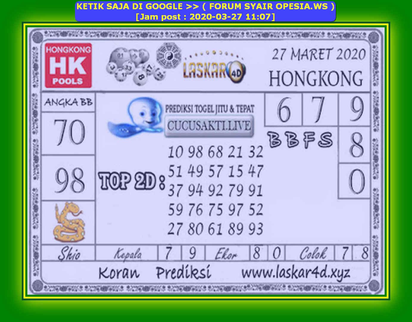 Kode syair Hongkong Jumat 27 Maret 2020 122