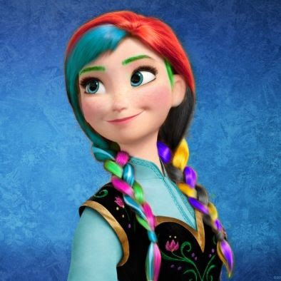 Gambar Putri Anna Frozen Pelangi Warna Warni Rainbow Disney