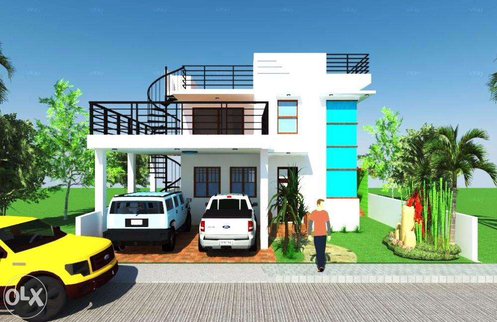 2%2Bstorey%2Bhouse%2Bwith%2Broof%2Bdeck - Get Two Story Small House Design With Rooftop Gif