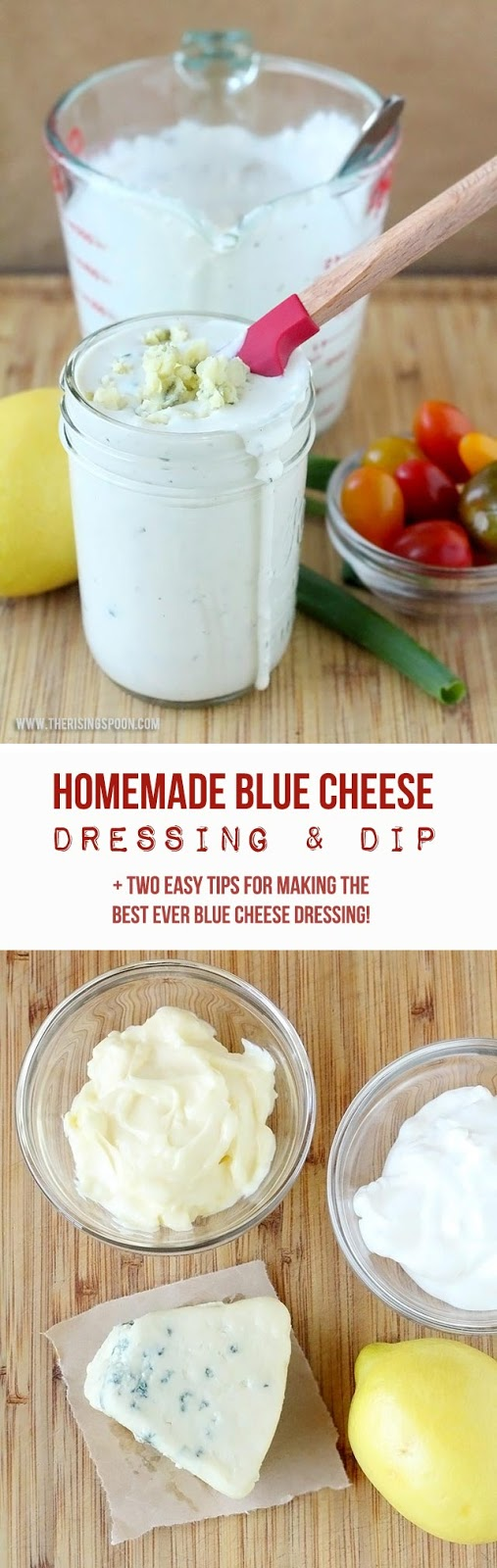 Skip the store brand dressings with junky processed ingredients and make your own creamy, tangy, chunky (and totally addicting) blue cheese dressing with as little as five ingredients that you probably have on hand right now. You'll never go back to the jarred kind after you make your own!