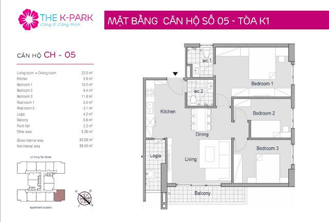 Thiết kế căn hộ 05 - Dt 93m2 - 03 phòng ngủ