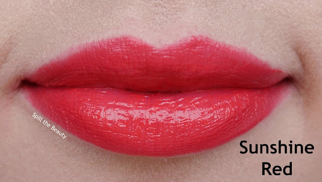 thefaceshop moisture touch lipstick review swatches sunshine red rd01 pink affair pk04 2 red lipstick