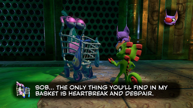 Yooka-Laylee Ollie the Trolley only thing you'll find in my basket is heartbreak and despair Moodymaze Marsh
