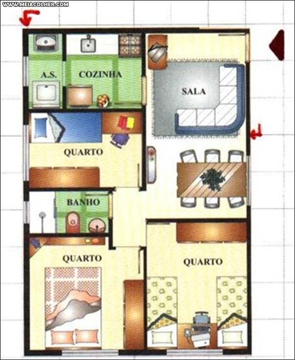 Casa de três quartos e um banheiro 2