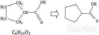 Rumus molekul dan rumus struktur asam siklopentilmetanoat, C6H10O2