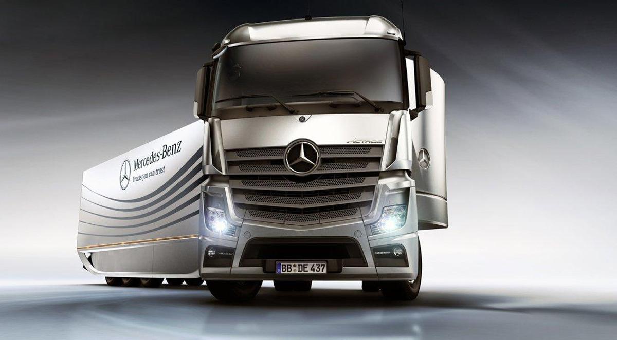 mercedes benz aero trailer en busca del ahorro de combustible pasion por los camiones. Black Bedroom Furniture Sets. Home Design Ideas