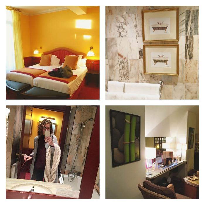 Notre chambre Deluxe, la salle de bain en marbre blanc et bois, et le spa