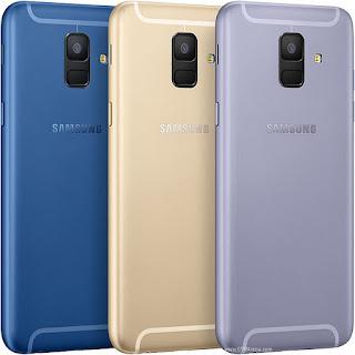 Gambar Samsung Galaxy A6 (2018) Biru, Emas dan Lavender