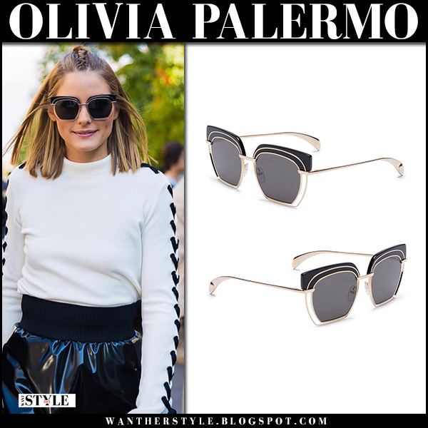 Olivia Palermo in white high neck sweater, black vinyl skirt with black geometric sunglasses harpers bazaar zero Milan Fashion Week september 24 2017 front row fall fashion