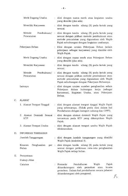 Petunjuk Pengisian Form Pendaftaran NPWP OP Hal 2