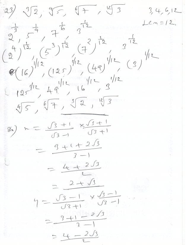 Prajam Math Genius: Class 9 Number system test Question