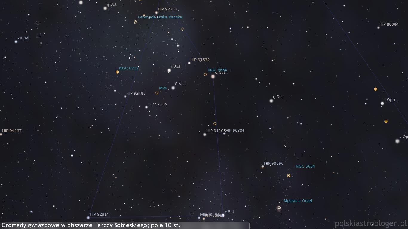 Obiekty głębokiego nieba w gwiazdozbiorze Tarcza Sobieskiego - wiele spośród nich można dostrzec przy wykorzystaniu lornetek.