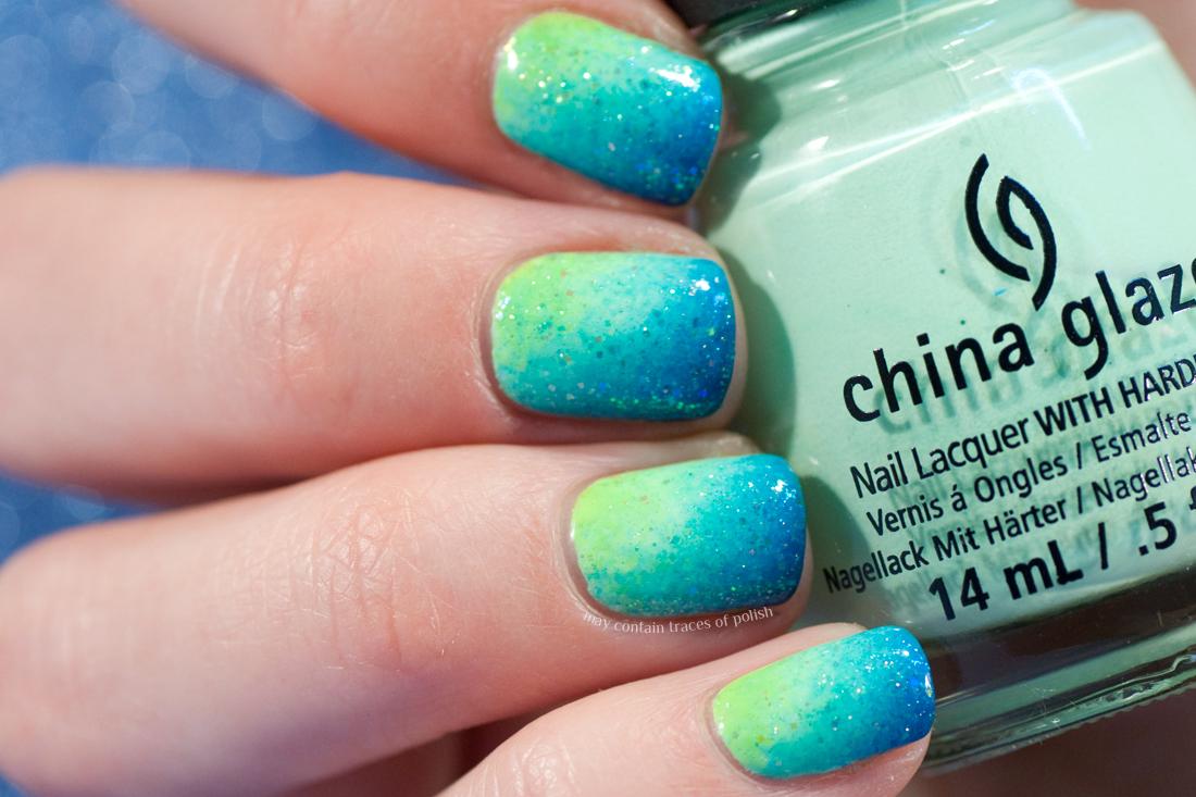 Summer Neon Gradient Nail Art - May contain traces of polish