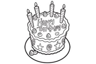 Coloring & Activity Pages: Birthday Cake with 4 Candles