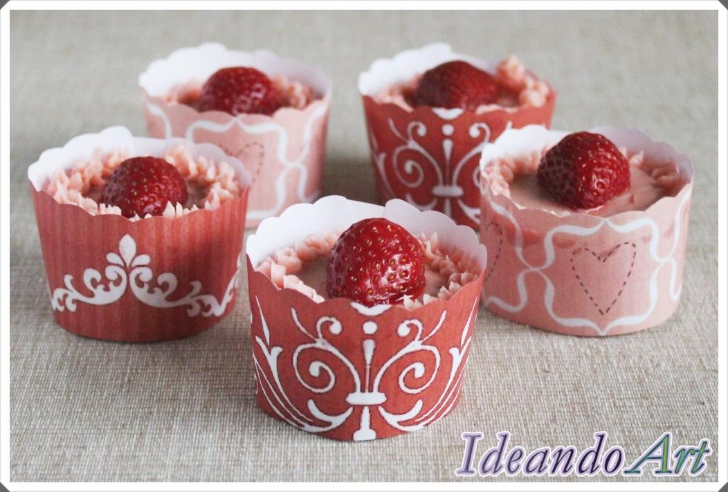 Cupcakes de fresas con wrappers