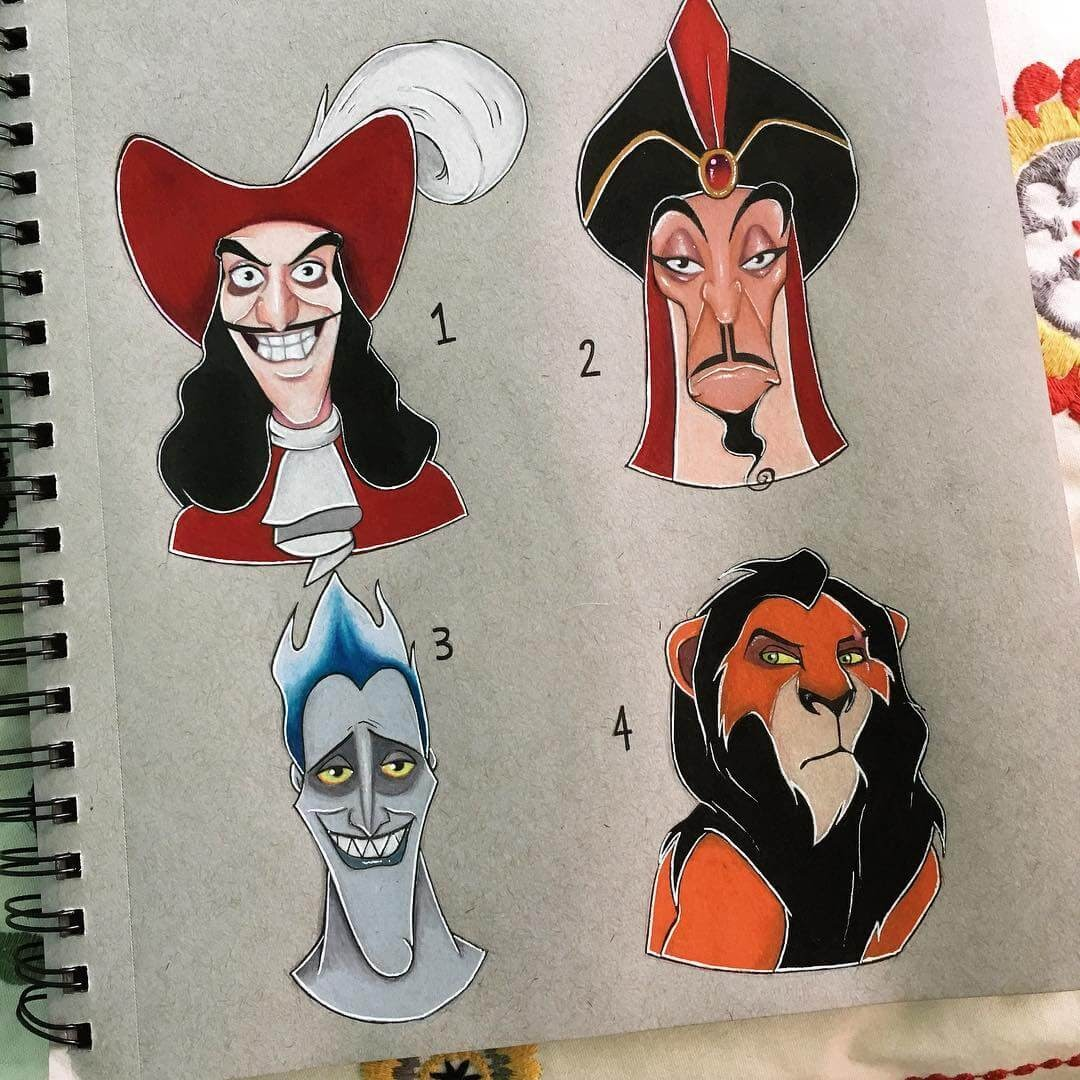 03-Captain-Hook-Jafar-Hades-Scar-Tabitha-Cartoon-and-Animation-Characters-in-Drawings-www-designstack-co