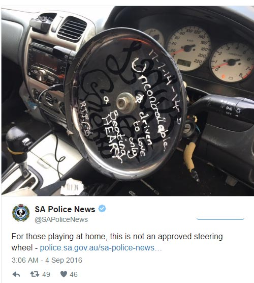 Photos: Driver nabbed for using frying pan as steering wheel