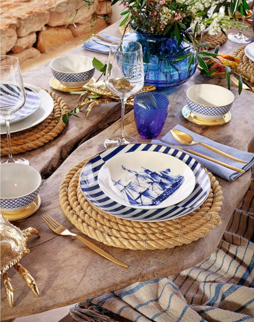 Coastal Nautical Table Top Decor Setting with Gold