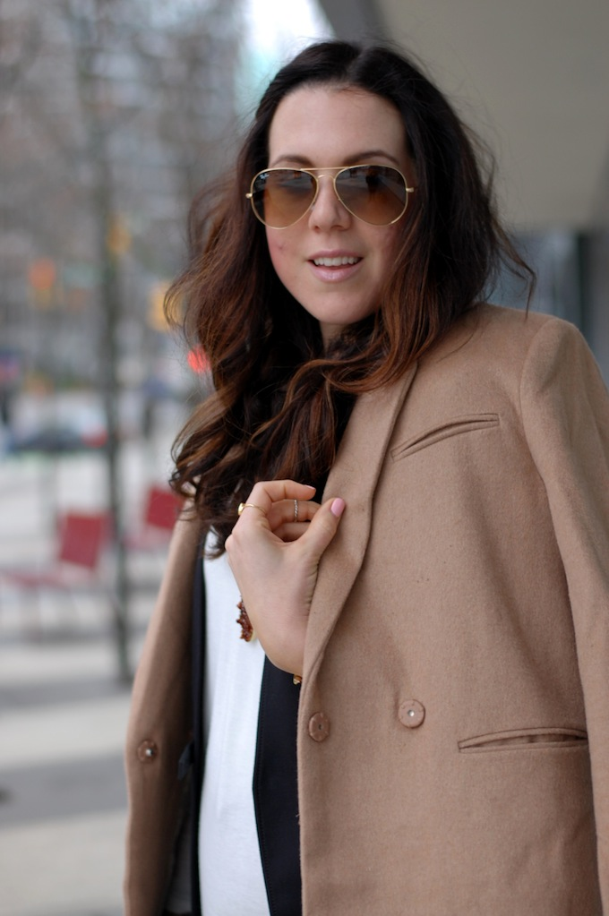 Fall layers outfit H&M camel coat and Helmut Lang vest Vancouver fashion blogger Aleesha Harris of Covet and Acquire.