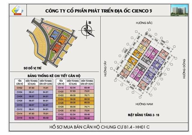 Mặt bằng tầng 2 đến tầng 5 chung cư b1,4-hh01c thanh hà