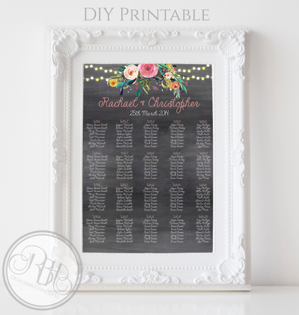 watercolour boho wedding seating chart plan by rbhdesignerconcepts.com