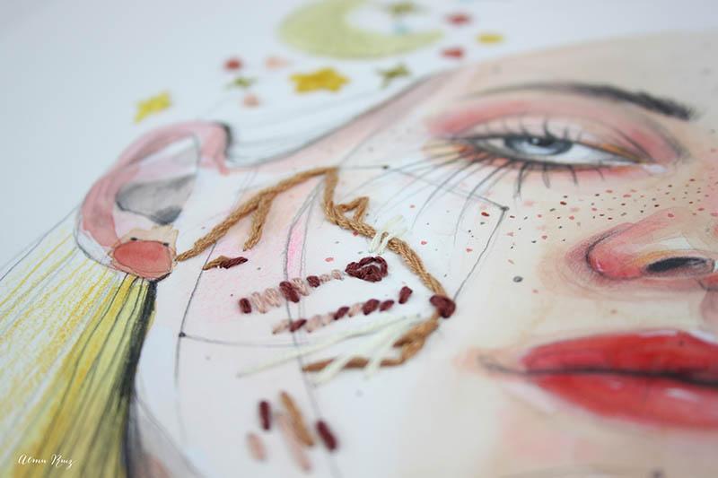 Bordados de Almu Ruiz sobre ilustración de Ana Santos
