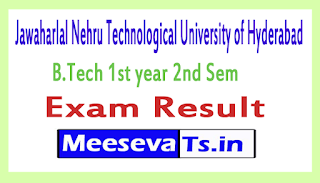 Jawaharlal Nehru Technological University Hyderabad B.Tech 1st year 2nd Sem Exam Results